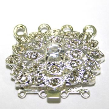 1pcs x silver plated sliding clasp with crystals - 4 strands